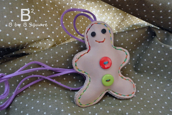 Limited Edition -- Handmade Gingerman  leather stuffed toy necklace or charm